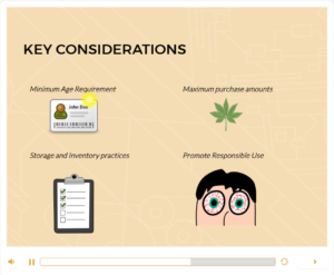 Screenshot of instructional product development for Cannabis Compliance