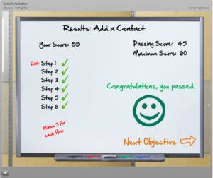 Score after completing an e-learning activity
