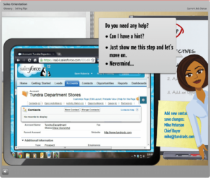 E-learning training to complete fields in a software application
